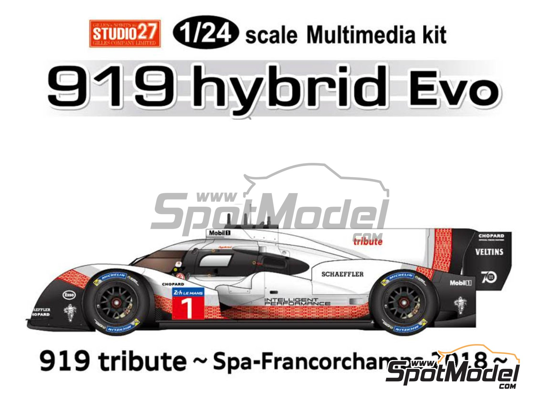Image 1: Porsche 919 hybrid Evo - SPA Francorchamps 2018 | Model car kit in 1/24 scale manufactured by Studio27 (ref. ST27-FD24016)