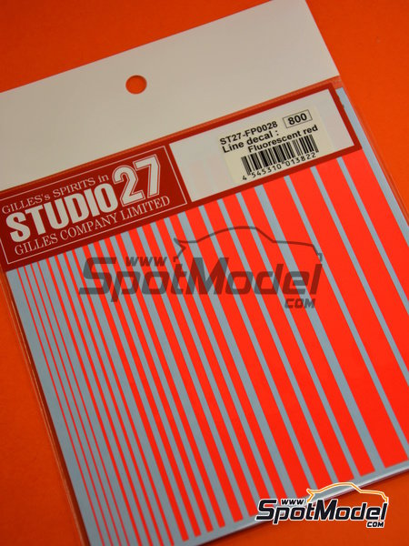Líneas rojo fluorescente | Calcas de agua fabricado por Studio27 (ref.ST27-FP0028) image