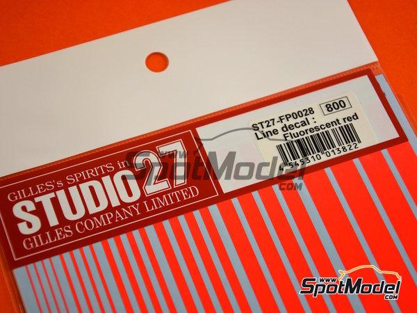 Image 3: Líneas rojo fluorescente | Calcas de agua fabricado por Studio27 (ref.ST27-FP0028)