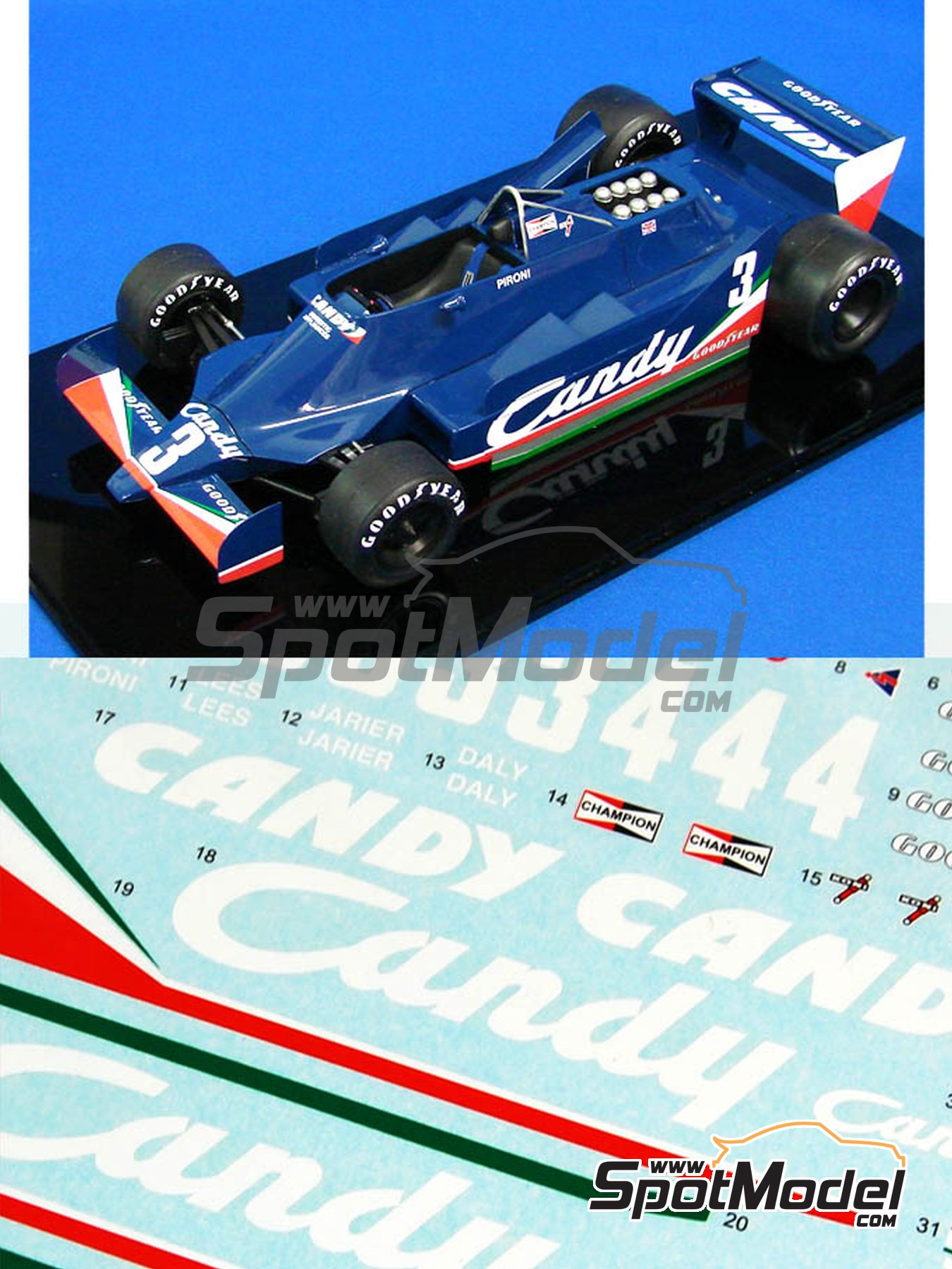 Tyrrell 009 Candy - FIA Formula 1 World Championship 1979 | Marking / livery in 1/20 scale manufactured by Studio27 (ref.ST27-SDF20207C) image