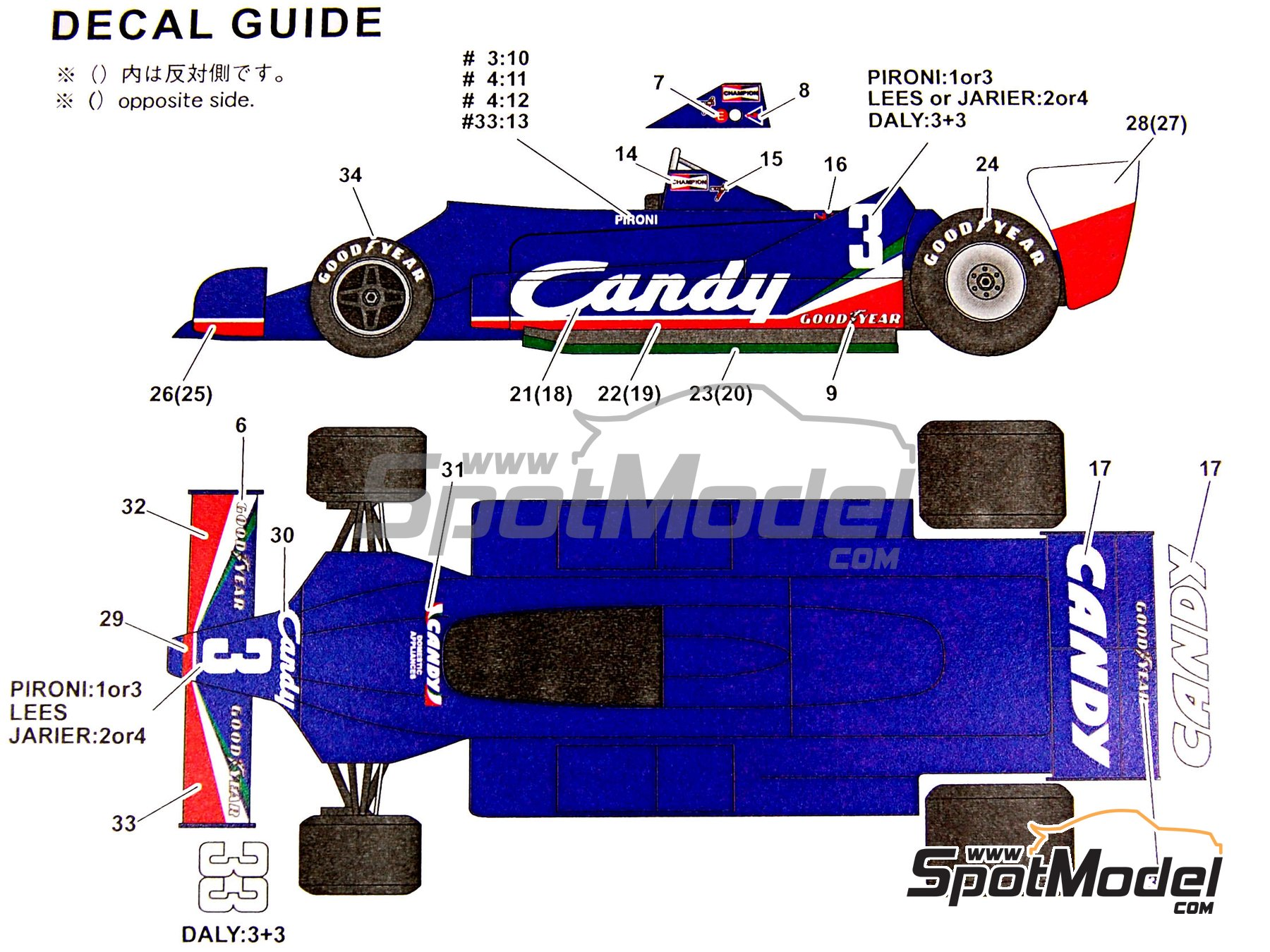 Image 2: Tyrrell 009 Candy - FIA Formula 1 World Championship 1979 | Marking / livery in 1/20 scale manufactured by Studio27 (ref.ST27-SDF20207C)