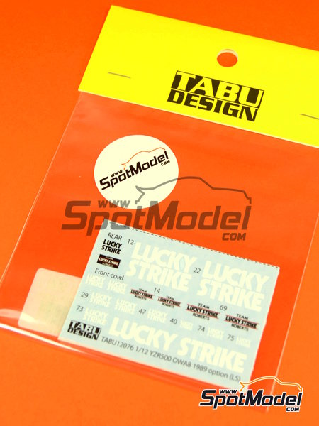 Yamaha YZR500 0WA8 Lucky Strike - Motorcycle World Championship 1989 | Decals in 1/12 scale manufactured by Tabu Design (ref.TABU12076) image