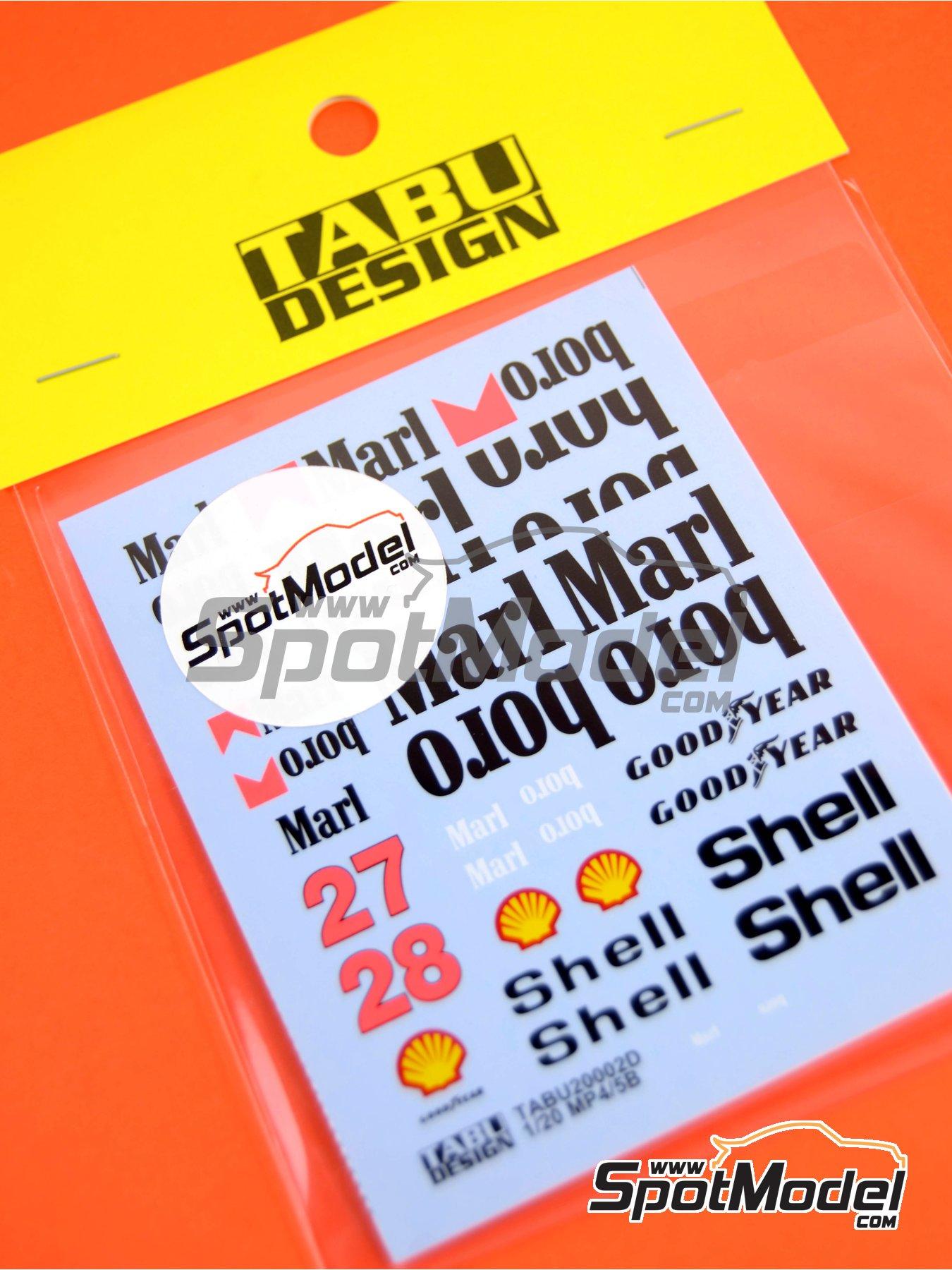 McLaren Honda MP4/5B Marlboro - Campeonato del Mundo de Formula1 1990 | Decoración en escala1/20 fabricado por Tabu Design (ref.TABU20002D) image