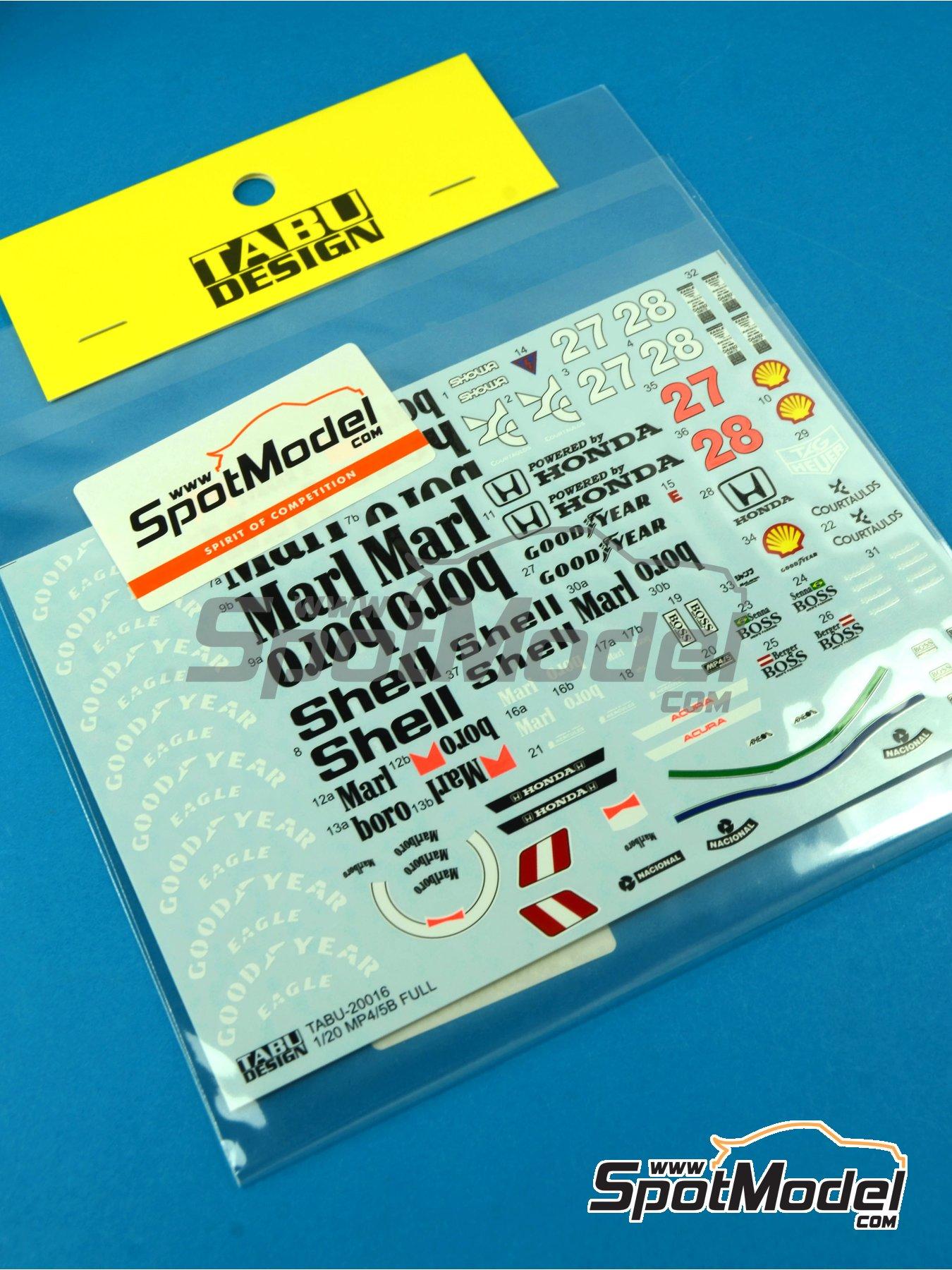 McLaren Honda MP4/5B Marlboro Shell - Campeonato del Mundo de Formula1 1990 | Decoración en escala1/20 fabricado por Tabu Design (ref.TABU20016B) image