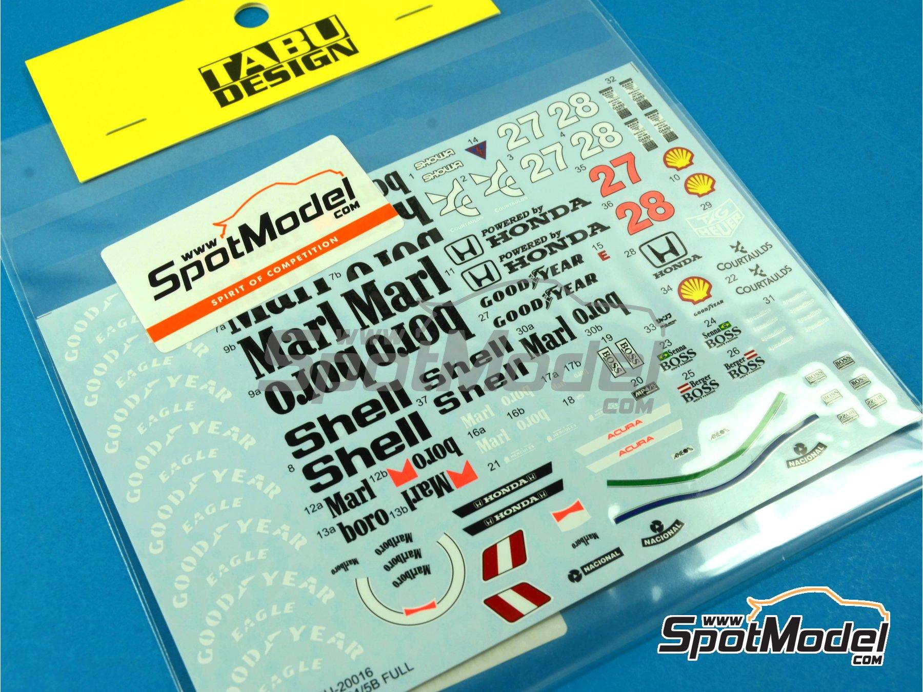 Image 5: McLaren Honda MP4/5B Marlboro Shell - Campeonato del Mundo de Formula1 1990 | Decoración en escala1/20 fabricado por Tabu Design (ref.TABU20016B)