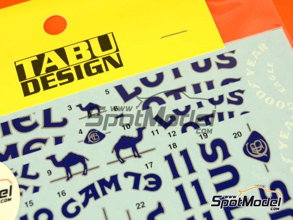 Image 6: Lotus Honda 99T Camel - FIA Formula 1 World Championship 1987 | Marking / livery in 1/20 scale manufactured by Tabu Design (ref.TABU20028D)