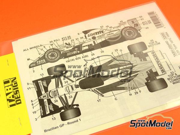 Image 1: Lotus Mugen-Honda 107C Hitachi - FIA Formula 1 World Championship 1994 | Marking / livery in 1/20 scale manufactured by Tabu Design (ref.TABU20049D)