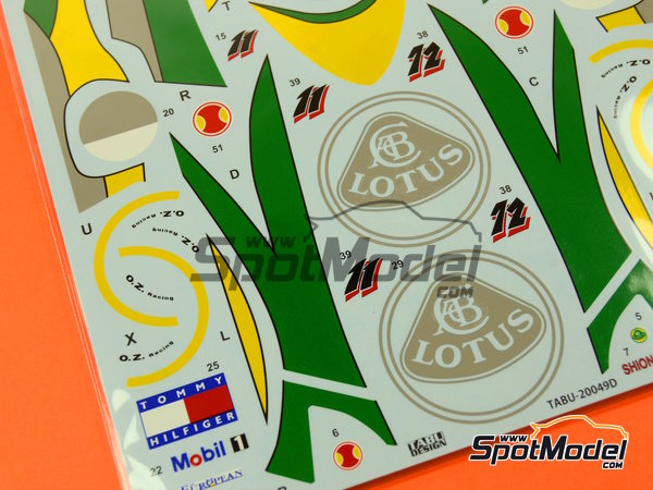 Image 4: Lotus Mugen-Honda 107C Hitachi - FIA Formula 1 World Championship 1994 | Marking / livery in 1/20 scale manufactured by Tabu Design (ref.TABU20049D)