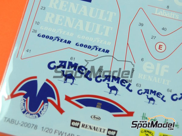 Image 4: Williams Renault FW14B Canon Camel - FIA Formula 1 World Championship 1992 | Marking / livery in 1/20 scale manufactured by Tabu Design (ref.TABU20078)