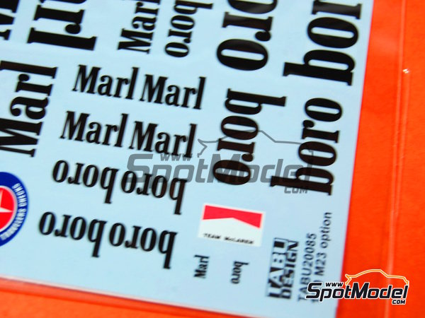 Image 4: McLaren Ford M23 Marlboro - FIA Formula 1 World Championship | Marking / livery in 1/20 scale manufactured by Tabu Design (ref. TABU20085)