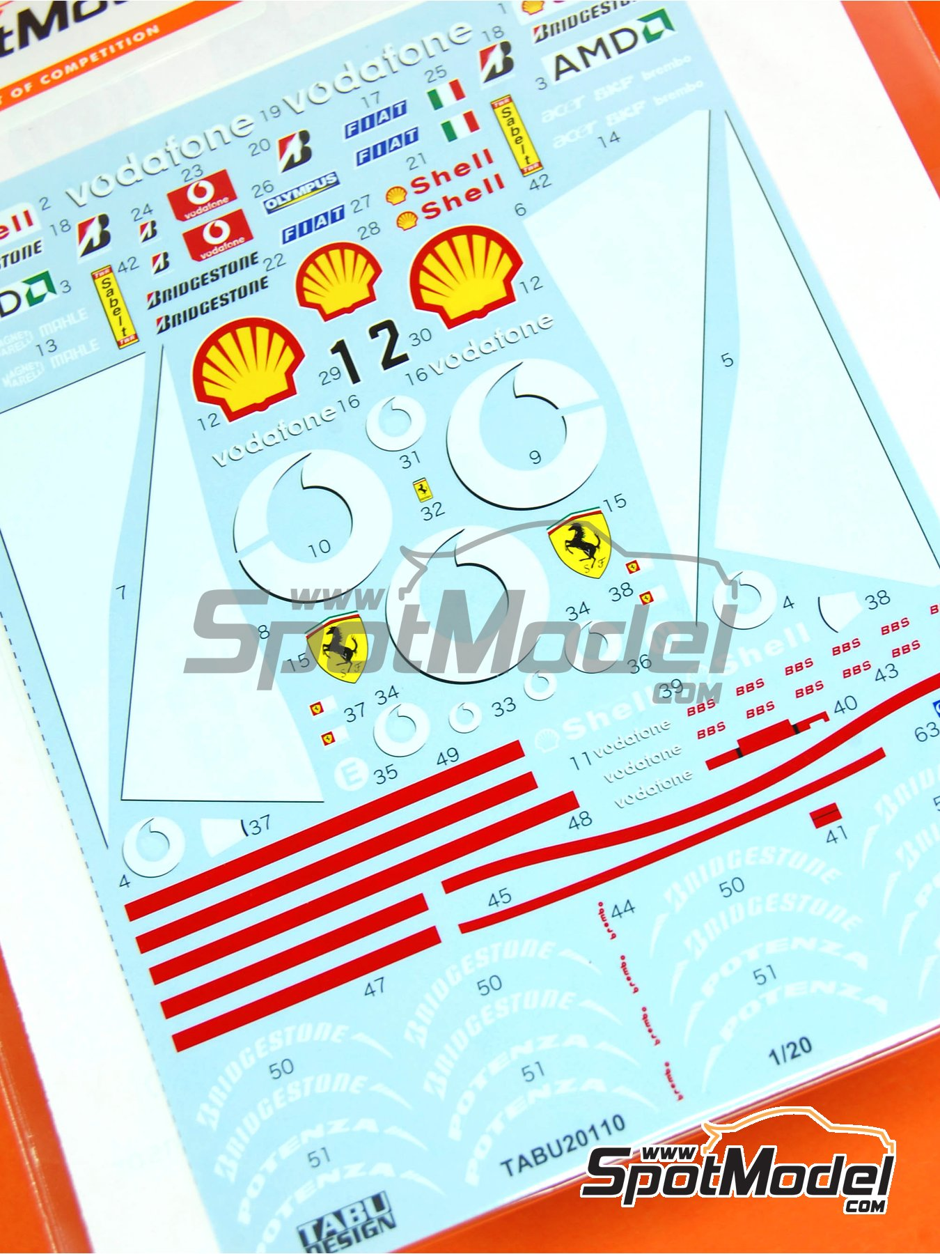 Ferrari F2003-GA Vodafone Shell - FIA Formula 1 World Championship 2003 | Marking / livery in 1/20 scale manufactured by Tabu Design (ref. TABU20110) image