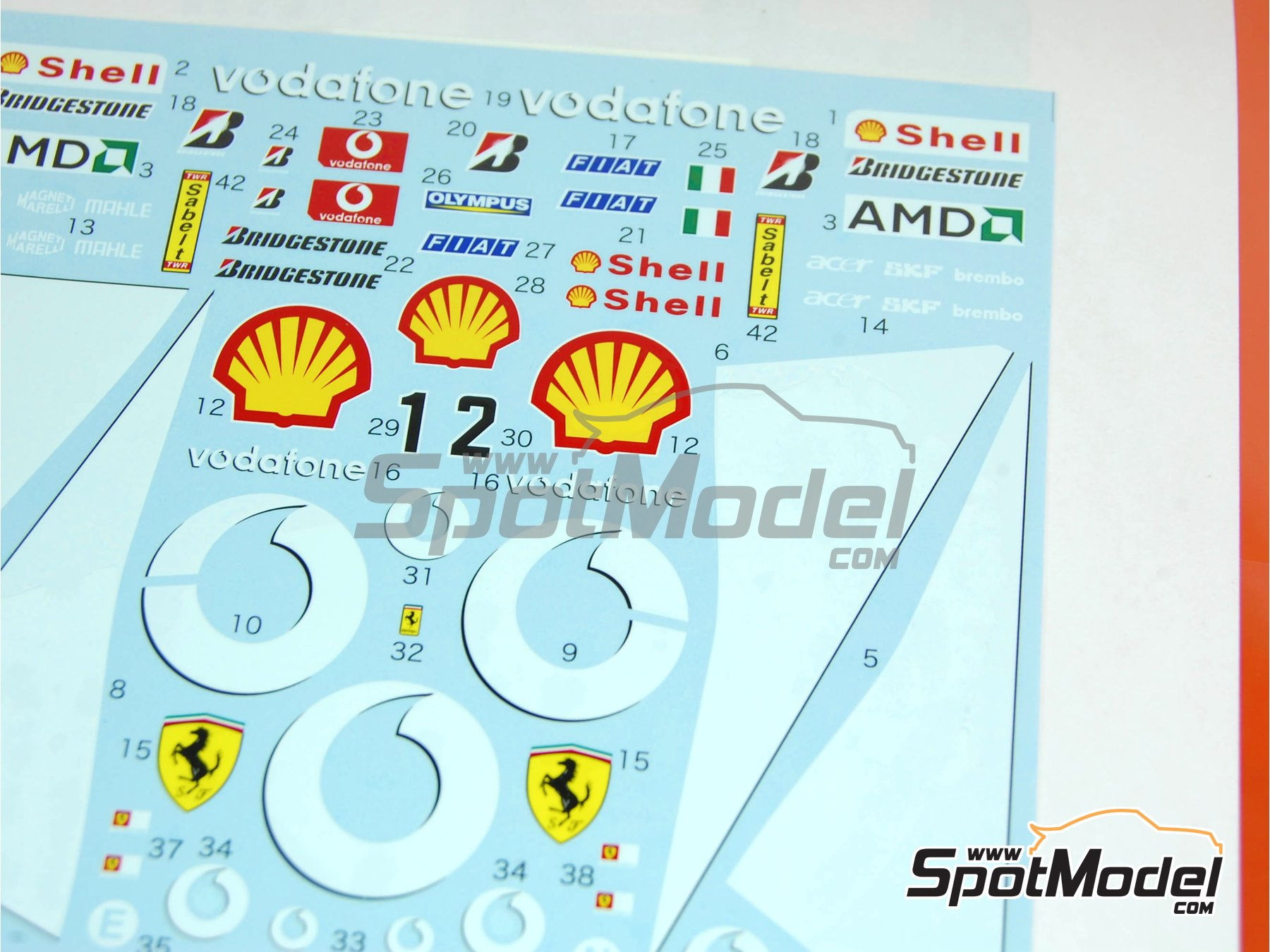 Image 2: Ferrari F2003-GA Vodafone Shell - FIA Formula 1 World Championship 2003 | Marking / livery in 1/20 scale manufactured by Tabu Design (ref. TABU20110)