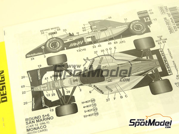 Image 1: Lotus Ford 107 - World Championship 1992 | Decals in 1/20 scale manufactured by Tabu Design (ref. TABU20136)