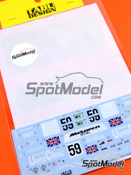 McLaren F1 GTR Short Tail Ueno Clinic - 24 Hours Le Mans 1995 | Marking / livery in 1/24 scale manufactured by Tabu Design (ref.TABU24046) image
