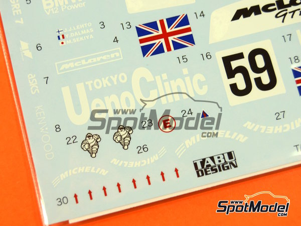 Image 4: McLaren F1 GTR Short Tail Ueno Clinic - 24 Hours Le Mans 1995 | Marking / livery in 1/24 scale manufactured by Tabu Design (ref.TABU24046)