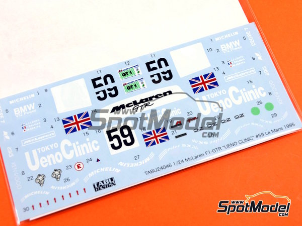 Image 5: McLaren F1 GTR Short Tail Ueno Clinic - 24 Hours Le Mans 1995 | Marking / livery in 1/24 scale manufactured by Tabu Design (ref.TABU24046)