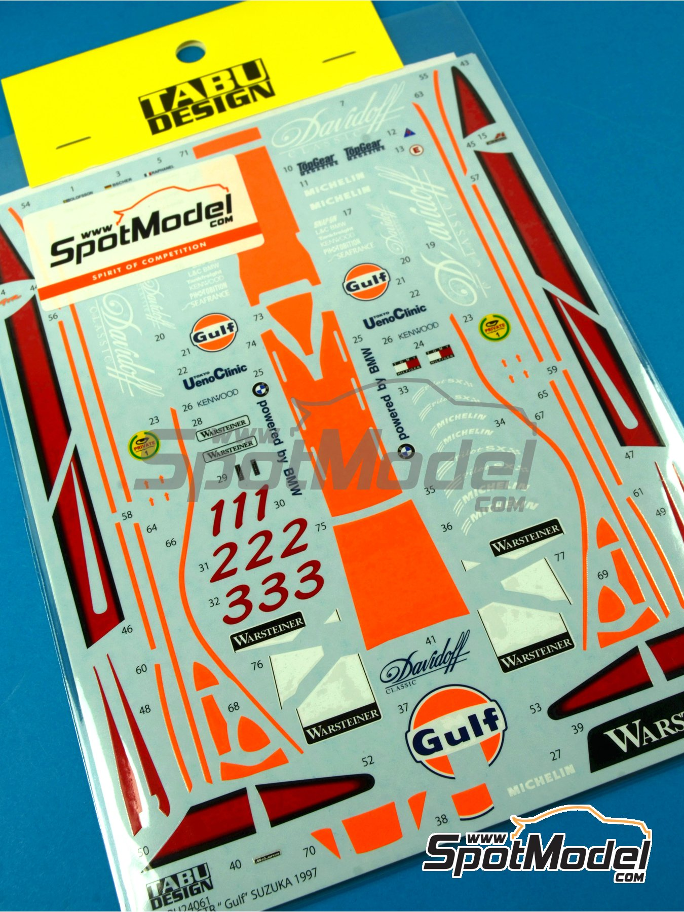 McLaren F1 GTR Long Tail Gulf - Suzuka 1997 | Decoración en escala1/24 fabricado por Tabu Design (ref.TABU24061) image