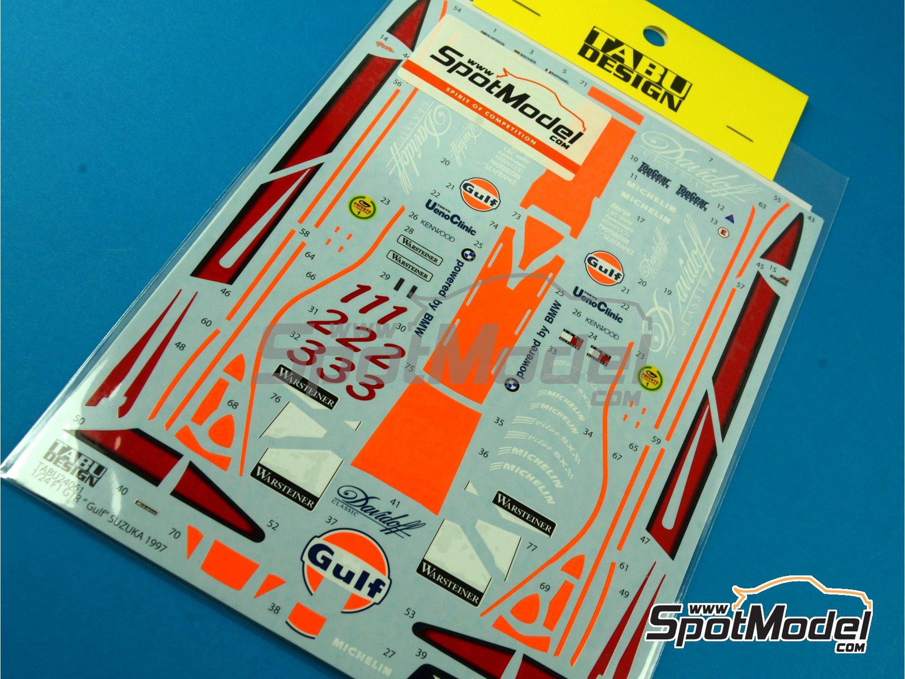 Image 1: McLaren F1 GTR Long Tail Gulf - Suzuka 1997 | Decoración en escala1/24 fabricado por Tabu Design (ref.TABU24061)