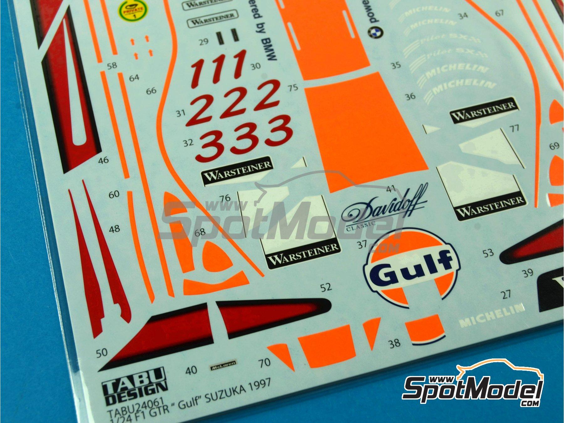Image 3: McLaren F1 GTR Long Tail Gulf - Suzuka 1997 | Decoración en escala1/24 fabricado por Tabu Design (ref.TABU24061)