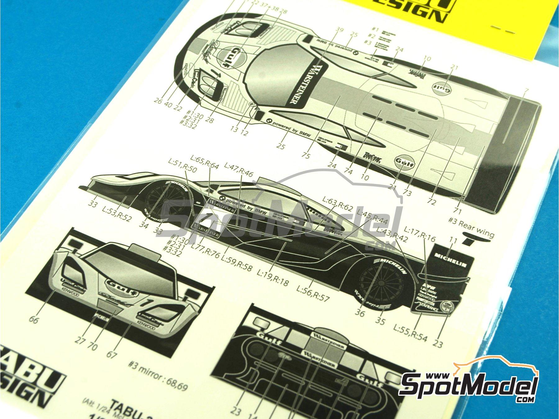 Image 8: McLaren F1 GTR Long Tail Gulf - Suzuka 1997 | Decoración en escala1/24 fabricado por Tabu Design (ref.TABU24061)