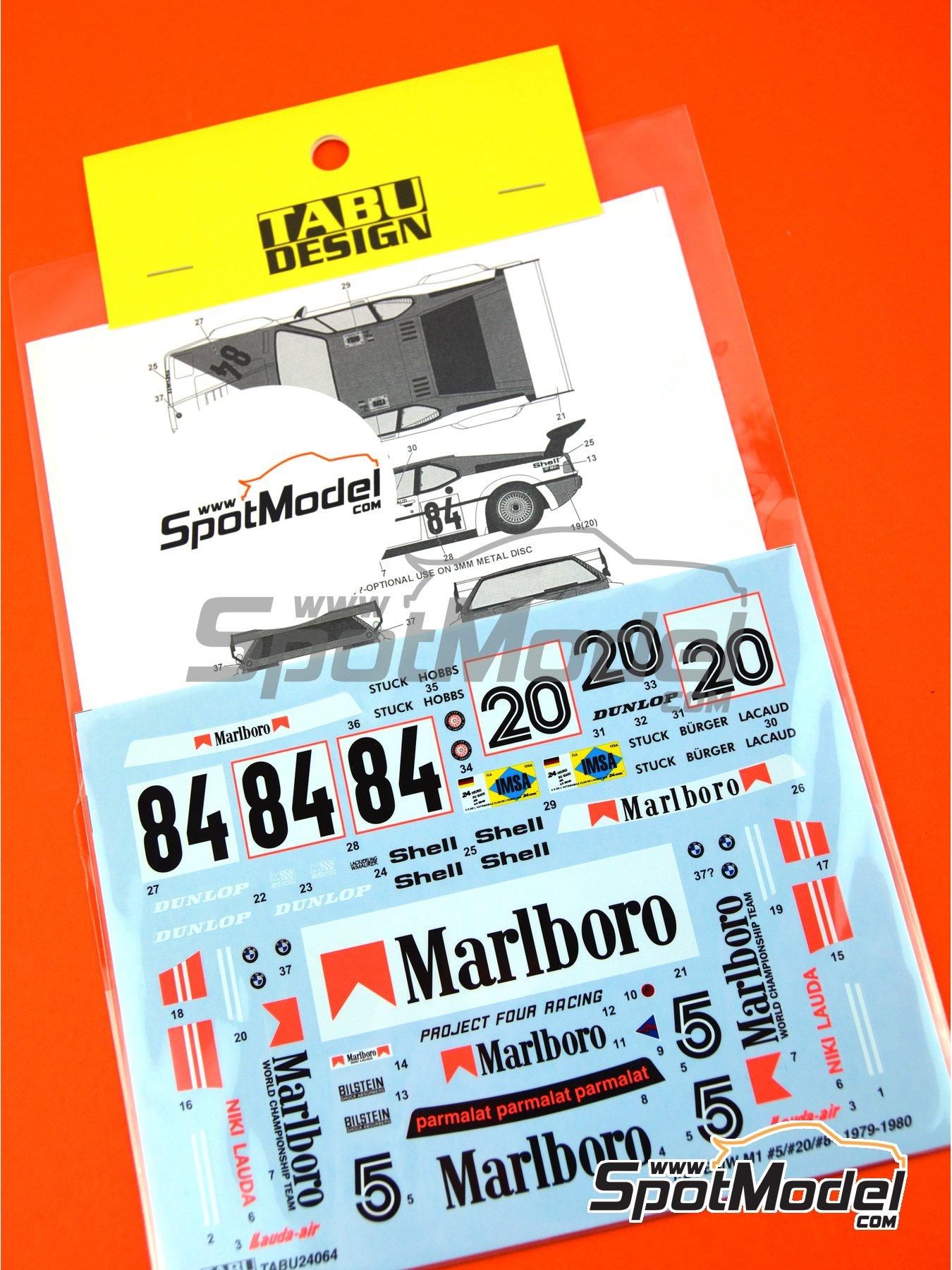 BMW M1 Grupo A Marlboro - Campeonato Procar 1979  y 1980 | Decoración en escala1/24 fabricado por Tabu Design (ref.TABU24064) image