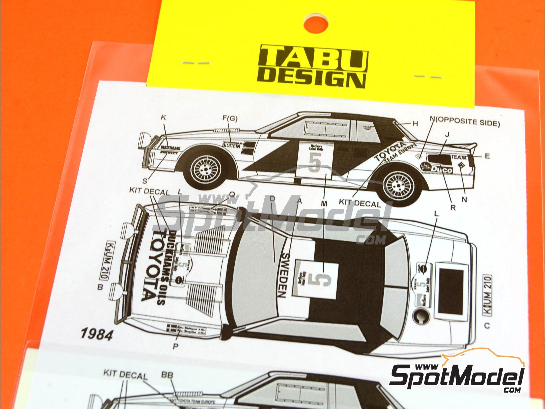 Image 2: Toyota TA64 Celica Marlboro - Safari Rally 1984 and 1986   Marking / livery in 1/24 scale manufactured by Tabu Design (ref.TABU24072)