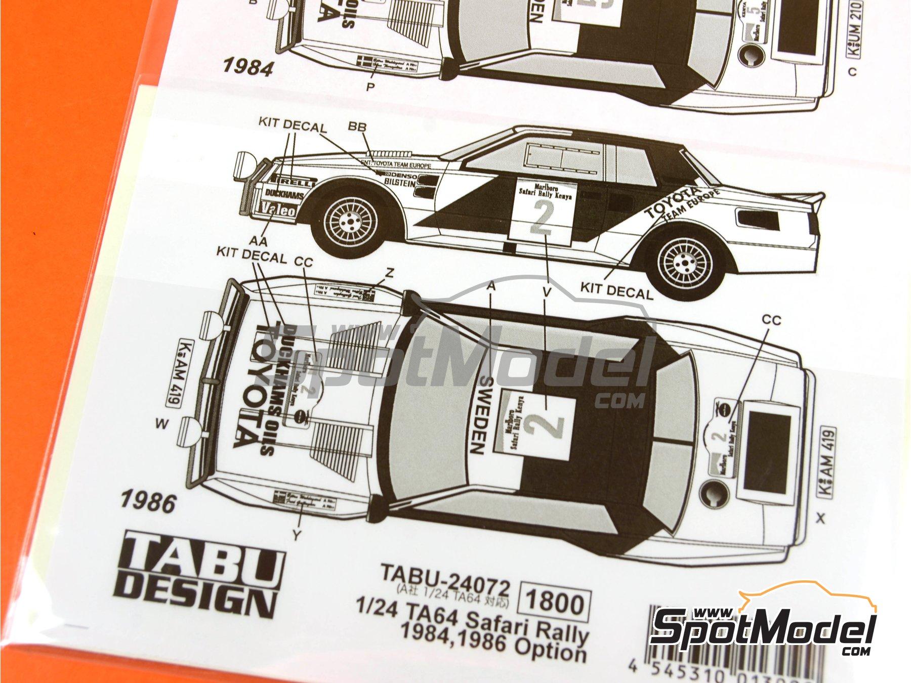 Image 3: Toyota TA64 Celica Marlboro - Safari Rally 1984 and 1986   Marking / livery in 1/24 scale manufactured by Tabu Design (ref.TABU24072)