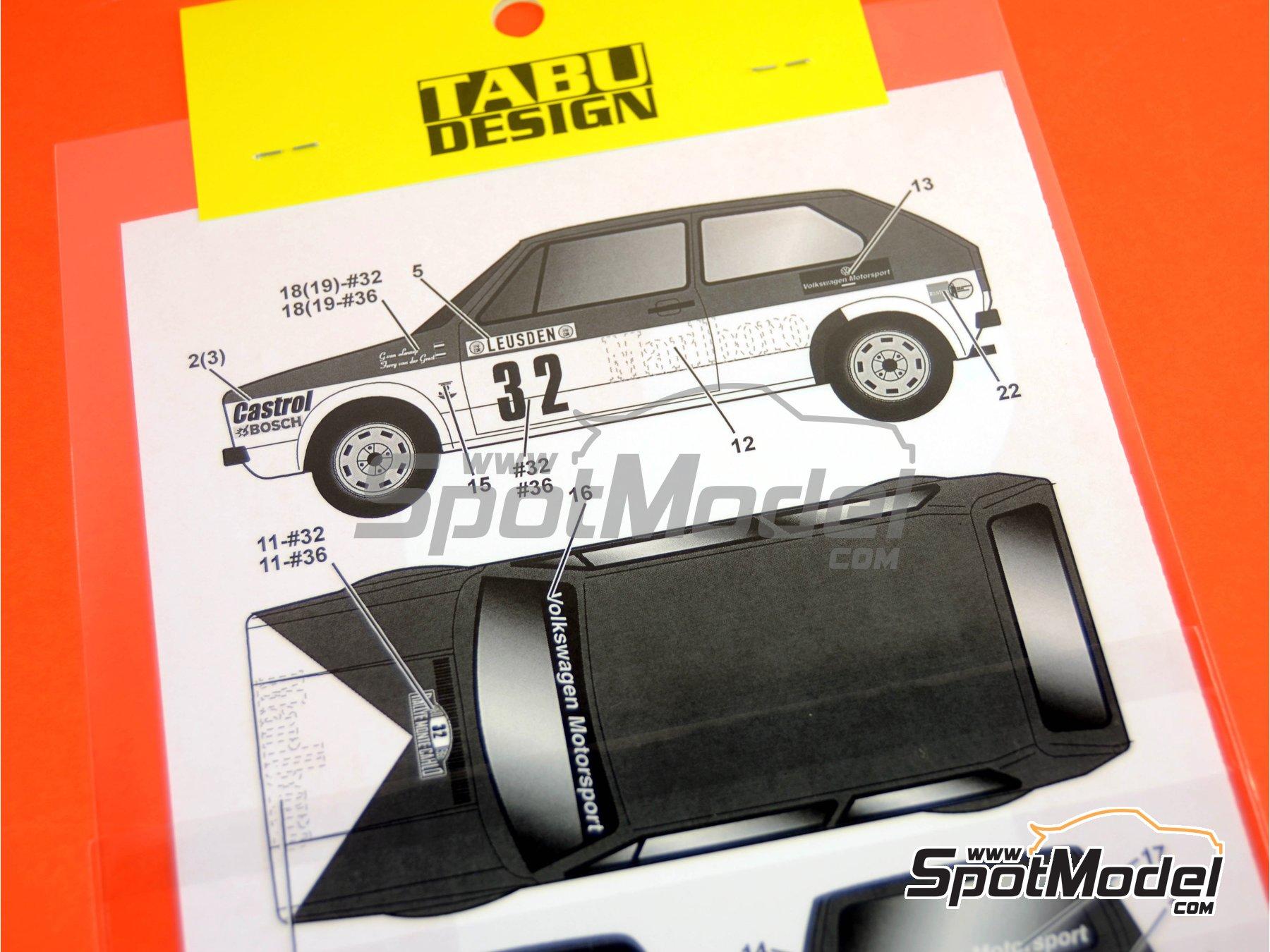 Image 5: Volkswagen Golf I GTI Marlboro - Rally de Montecarlo 1980   Decoración en escala1/24 fabricado por Tabu Design (ref.TABU24076)