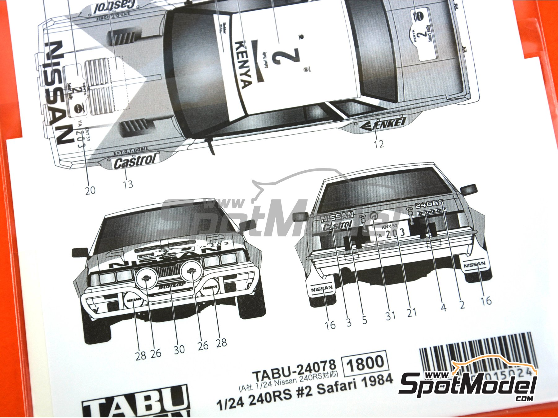 Image 4: Nissan 240RS - Safari Rally 1984 | Marking / livery in 1/24 scale manufactured by Tabu Design (ref. TABU24078)