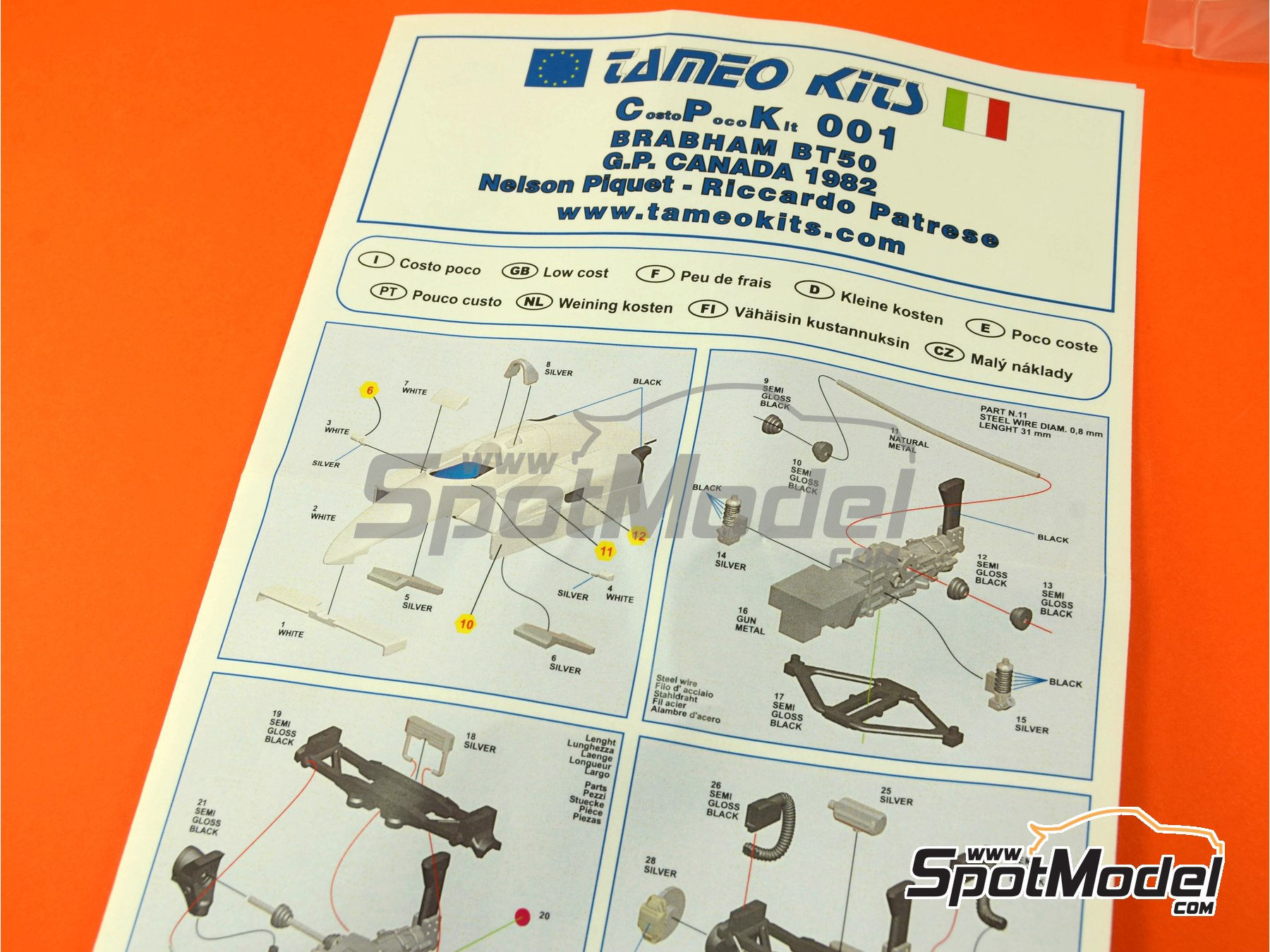 Image 1: Brabham BMW BT50 Turbo Parmalat - Canadian Formula 1 Grand Prix 1982 | Model car kit in 1/43 scale manufactured by Tameo Kits (ref.CPK001)