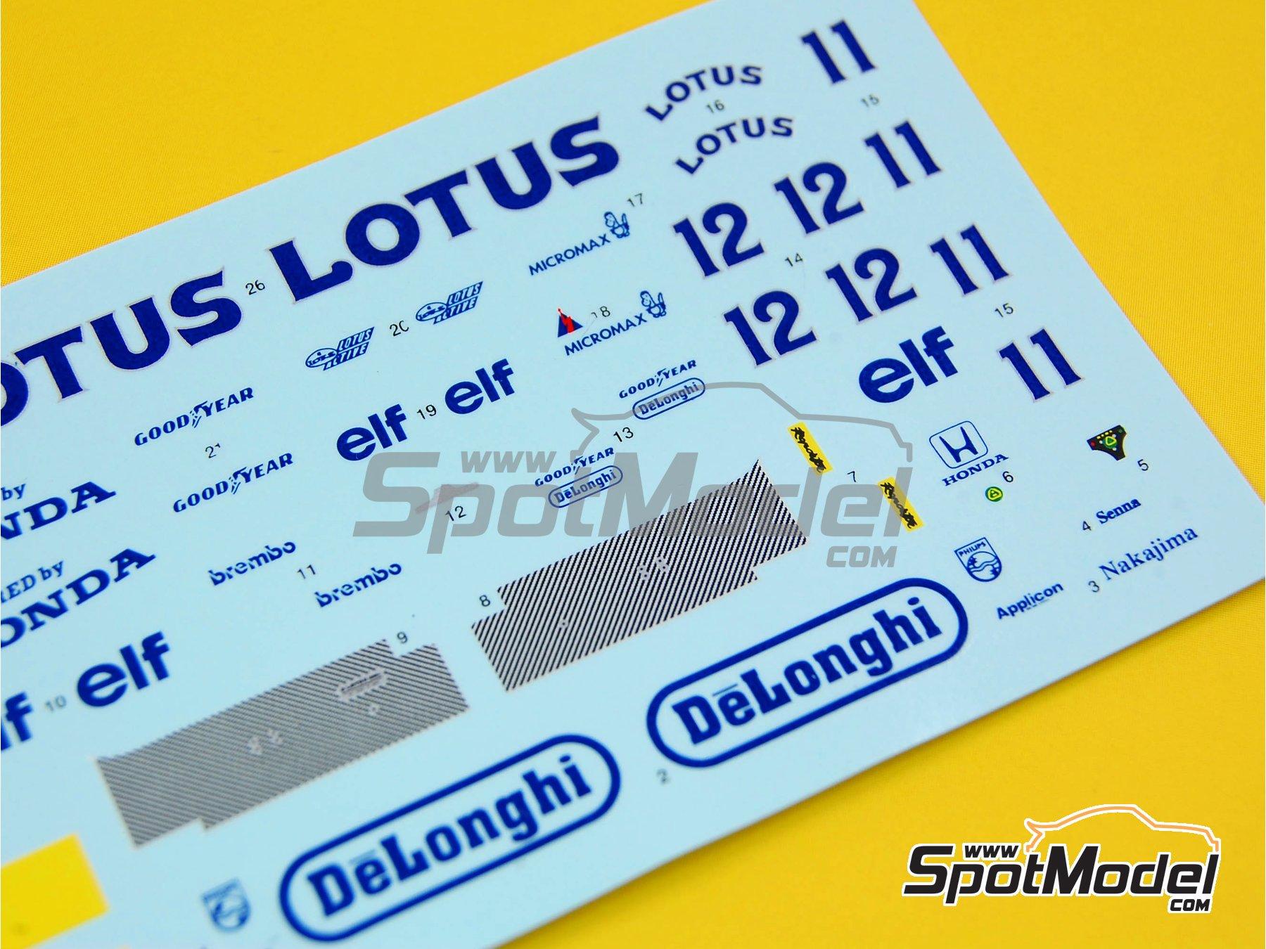 Image 1: Lotus Honda 99T DeLonghi  Camel - Monaco Formula 1 Grand Prix, San Marino Grand Prix 1987 | Marking / livery in 1/43 scale manufactured by Tameo Kits (ref.DK-SLK086)