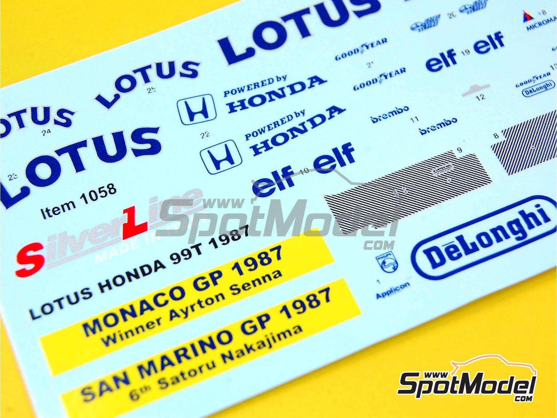 Image 2: Lotus Honda 99T DeLonghi  Camel - Monaco Formula 1 Grand Prix, San Marino Grand Prix 1987 | Marking / livery in 1/43 scale manufactured by Tameo Kits (ref.DK-SLK086)