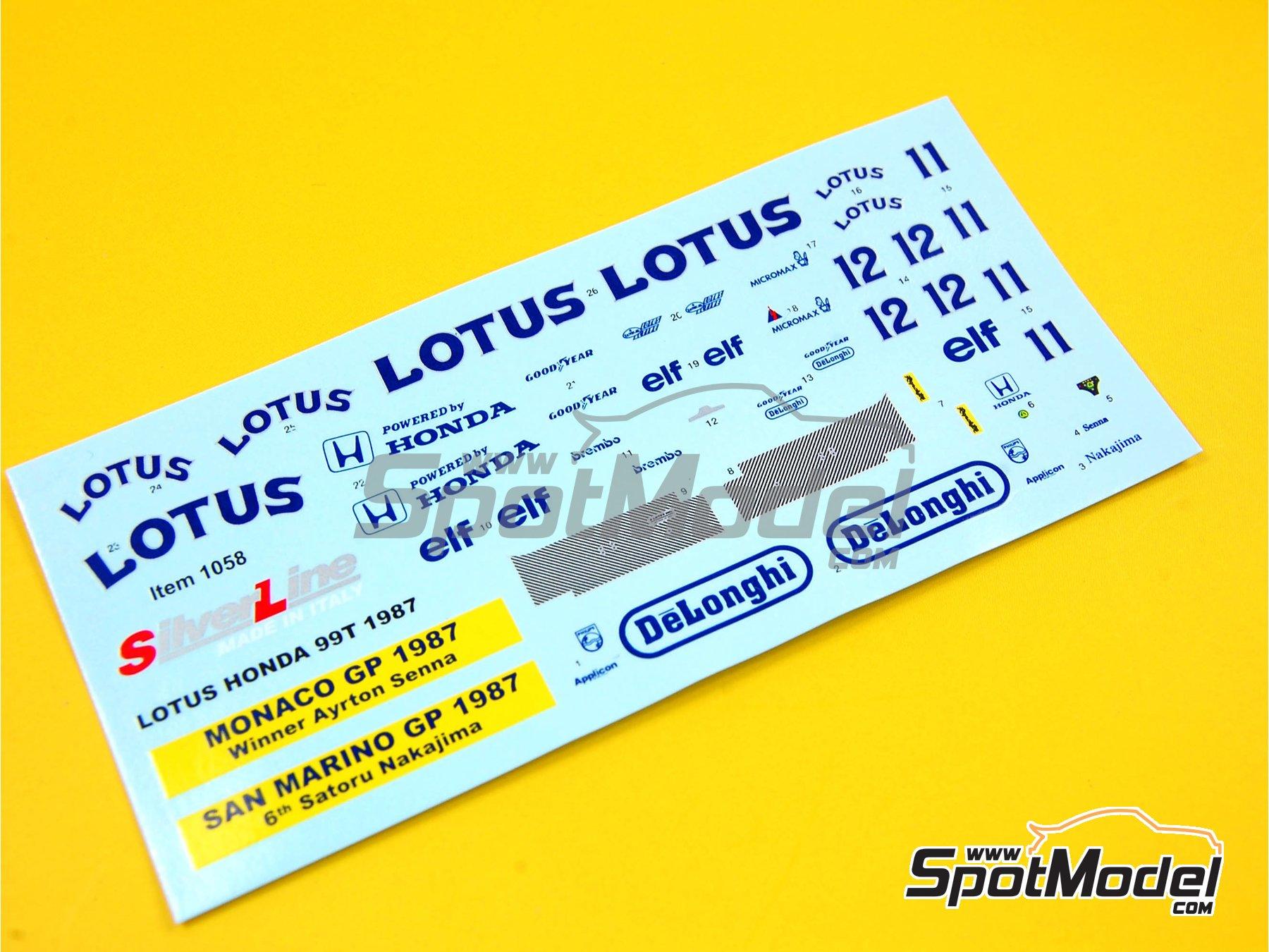 Image 3: Lotus Honda 99T DeLonghi  Camel - Monaco Formula 1 Grand Prix, San Marino Grand Prix 1987 | Marking / livery in 1/43 scale manufactured by Tameo Kits (ref.DK-SLK086)