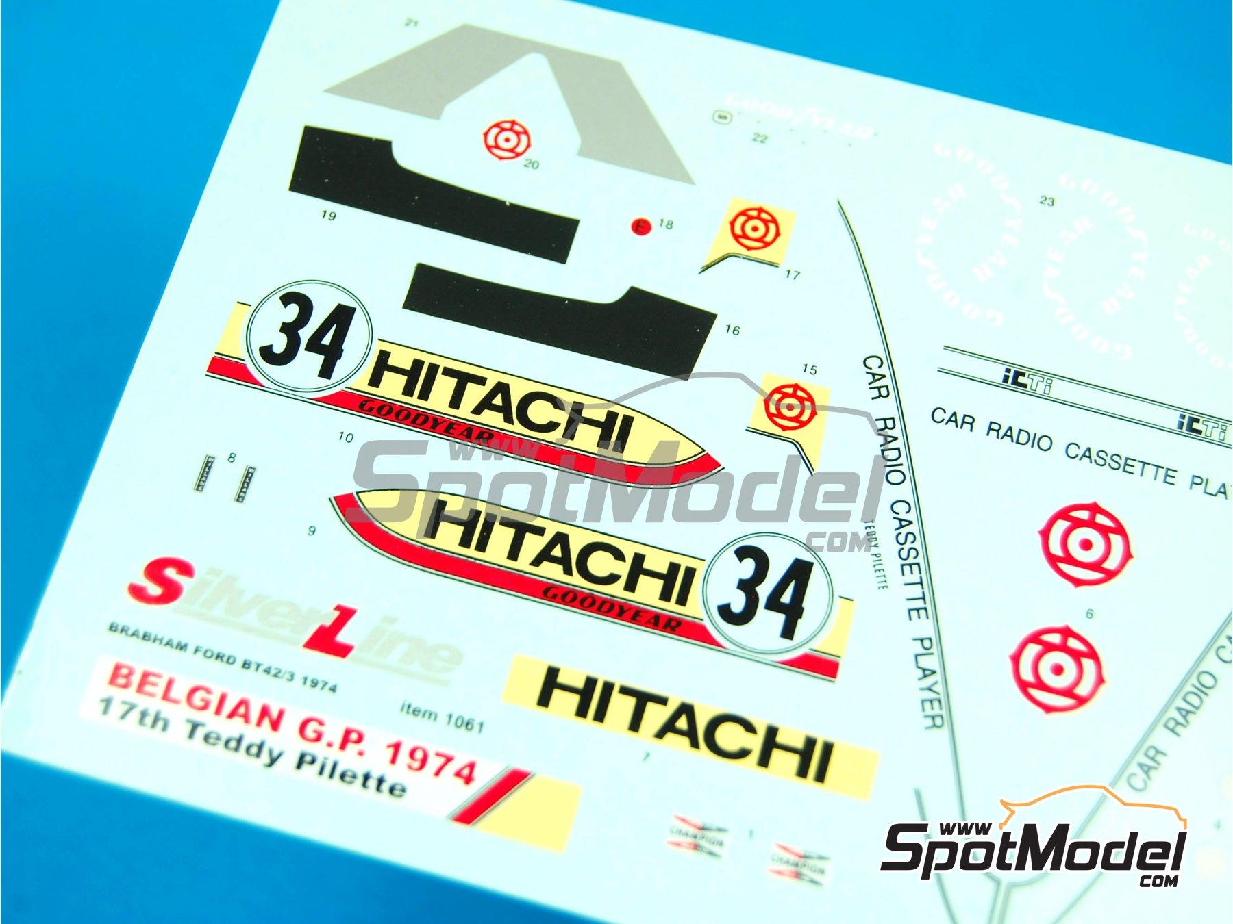 Image 2: Brabham Ford BT42/3 Hitachi - Belgian Formula 1 Grand Prix 1974 | Marking / livery in 1/43 scale manufactured by Tameo Kits (ref.DK-SLK092)