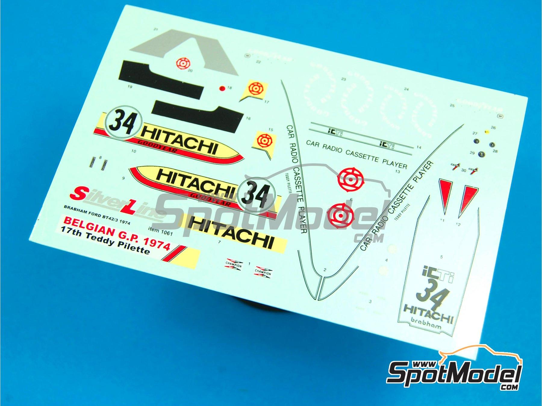 Image 3: Brabham Ford BT42/3 Hitachi - Belgian Formula 1 Grand Prix 1974 | Marking / livery in 1/43 scale manufactured by Tameo Kits (ref.DK-SLK092)