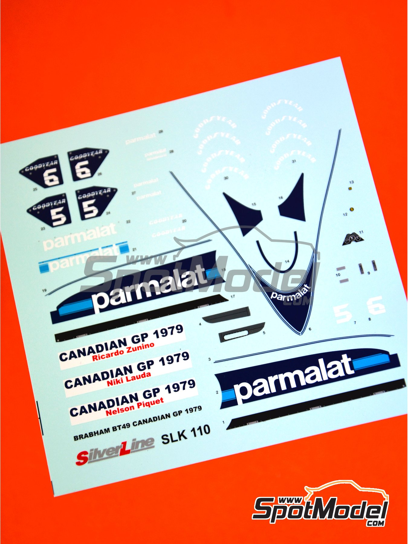 Brabham Ford BT49 Parmalat - Canadian Grand Prix 1979 | Marking / livery in 1/43 scale manufactured by Tameo Kits (ref. DK-SLK110) image