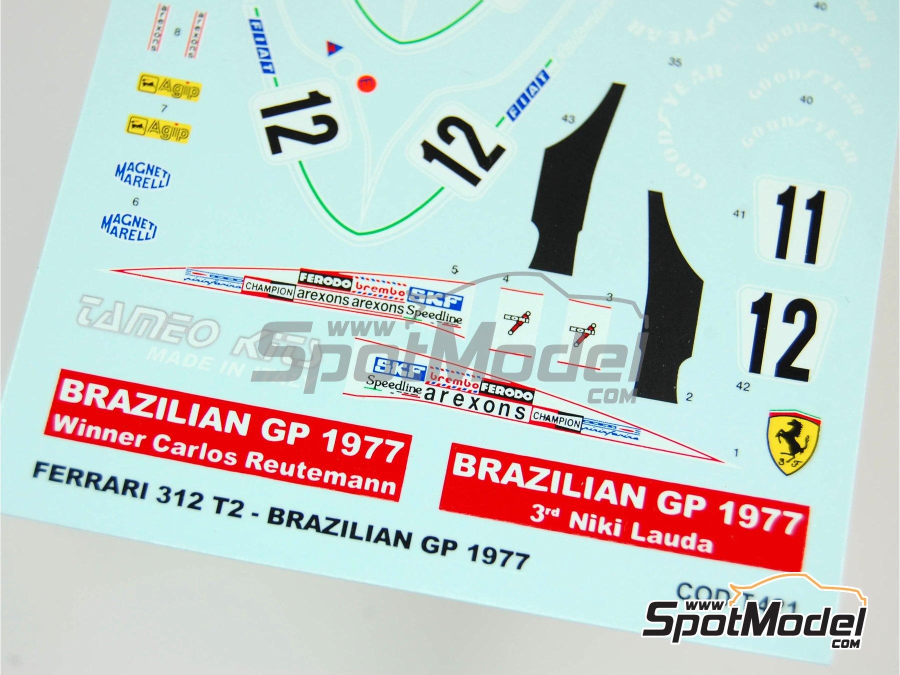 Image 2: Ferrari 312T2 Fiat - Gran Premio de Fórmula 1 de Brasil 1977 | Decoración en escala1/43 fabricado por Tameo Kits (ref.DK404)