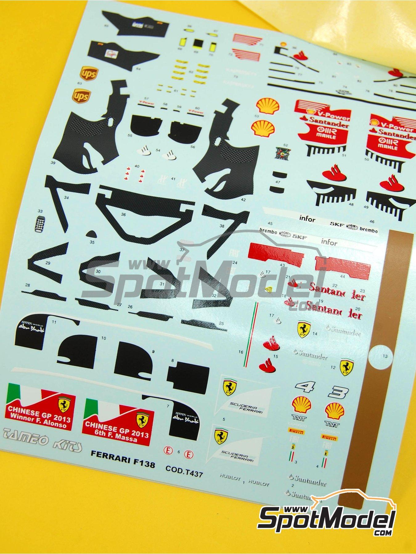 Ferrari F138 F2013 Banco Santander - Gran Premio de Fórmula 1 de China 2013 | Decoración en escala1/43 fabricado por Tameo Kits (ref.DK413) image