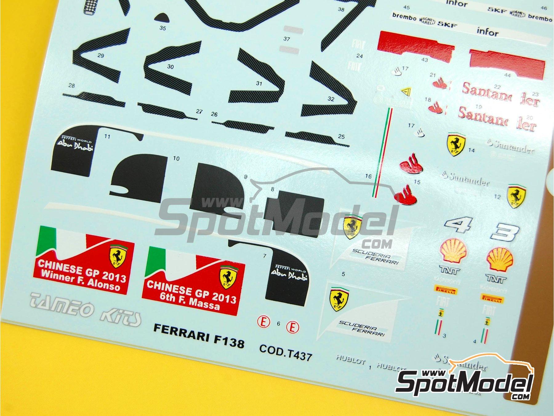 Image 2: Ferrari F138 F2013 Banco Santander - Chinese Formula 1 Grand Prix 2013 | Marking / livery in 1/43 scale manufactured by Tameo Kits (ref.DK413)