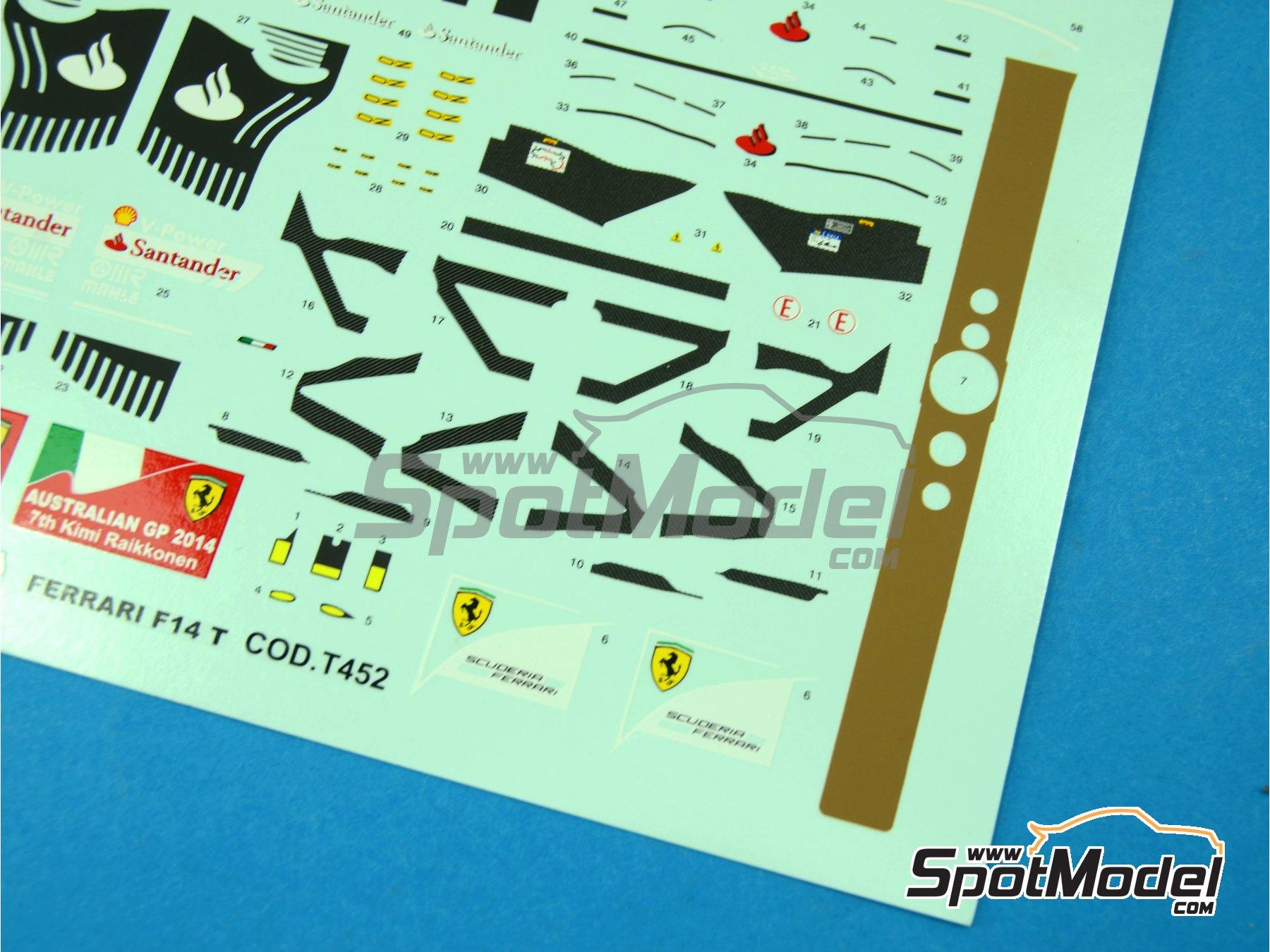 Image 2: Ferrari F14 T Banco Santander - Australian Formula 1 Grand Prix 2014   Marking / livery in 1/43 scale manufactured by Tameo Kits (ref.DK421)
