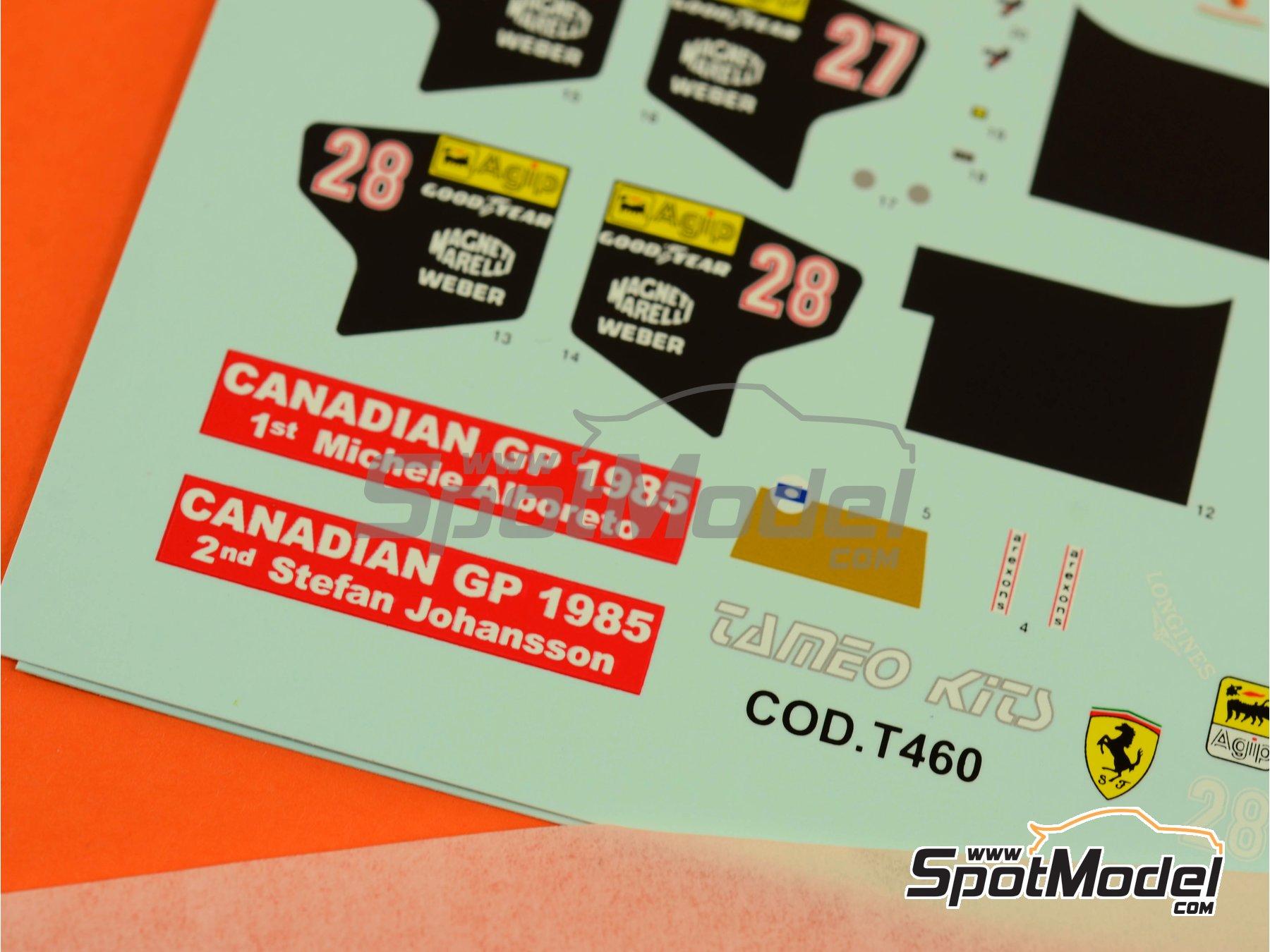 Image 4: Ferrari 156/85 Agip Marlboro - Canadian Formula 1 Grand Prix 1985 | Marking / livery in 1/43 scale manufactured by Tameo Kits (ref.DK428)
