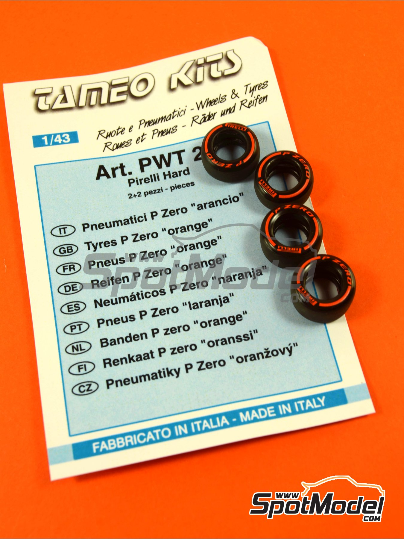 Pirelli P Zero Orange | Tyre set in 1/43 scale manufactured by Tameo Kits (ref.PWT26) image