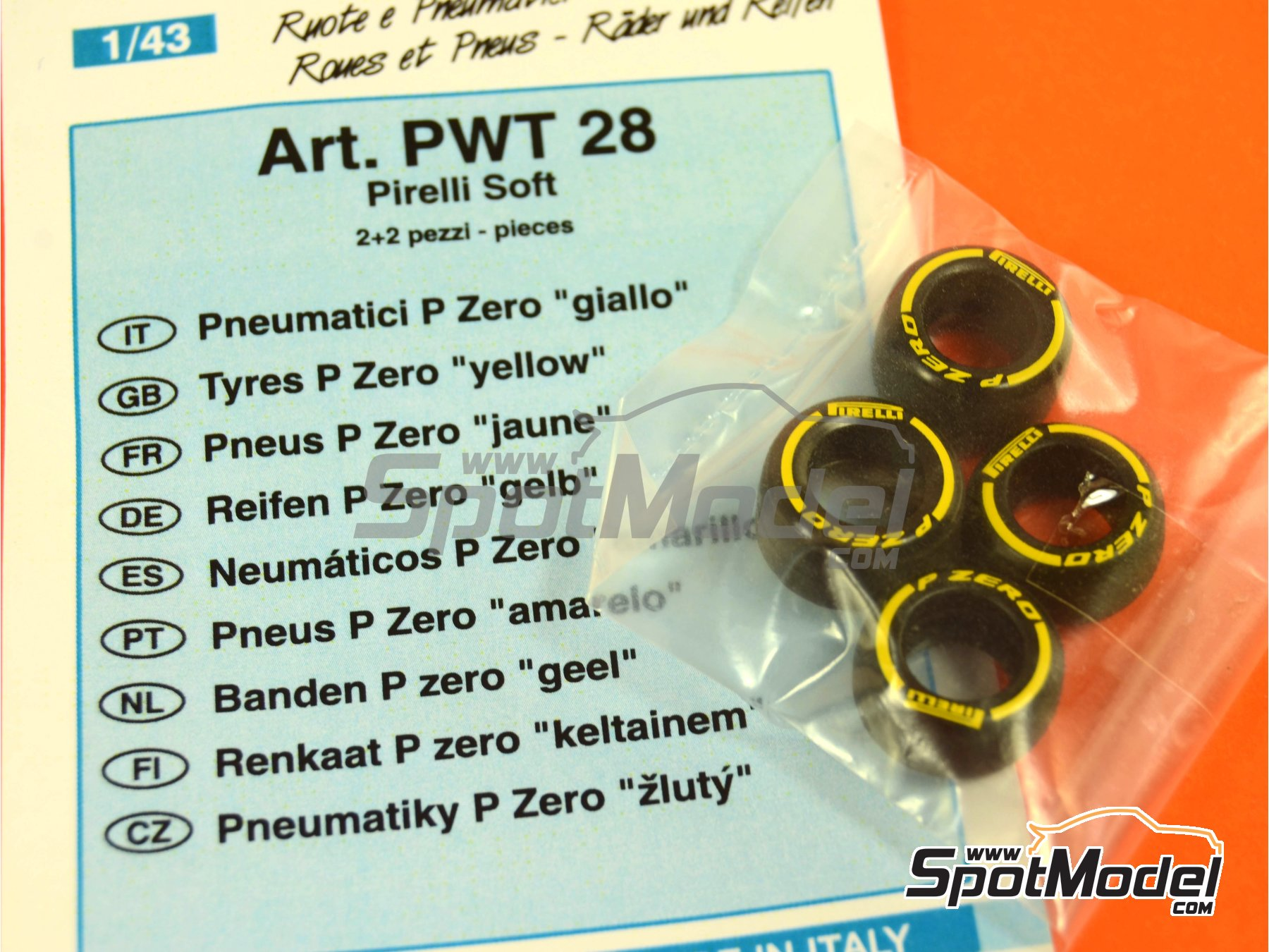 Image 4: Pirelli P Zero Yellow | Neumáticos en escala1/43 fabricado por Tameo Kits (ref.PWT28)