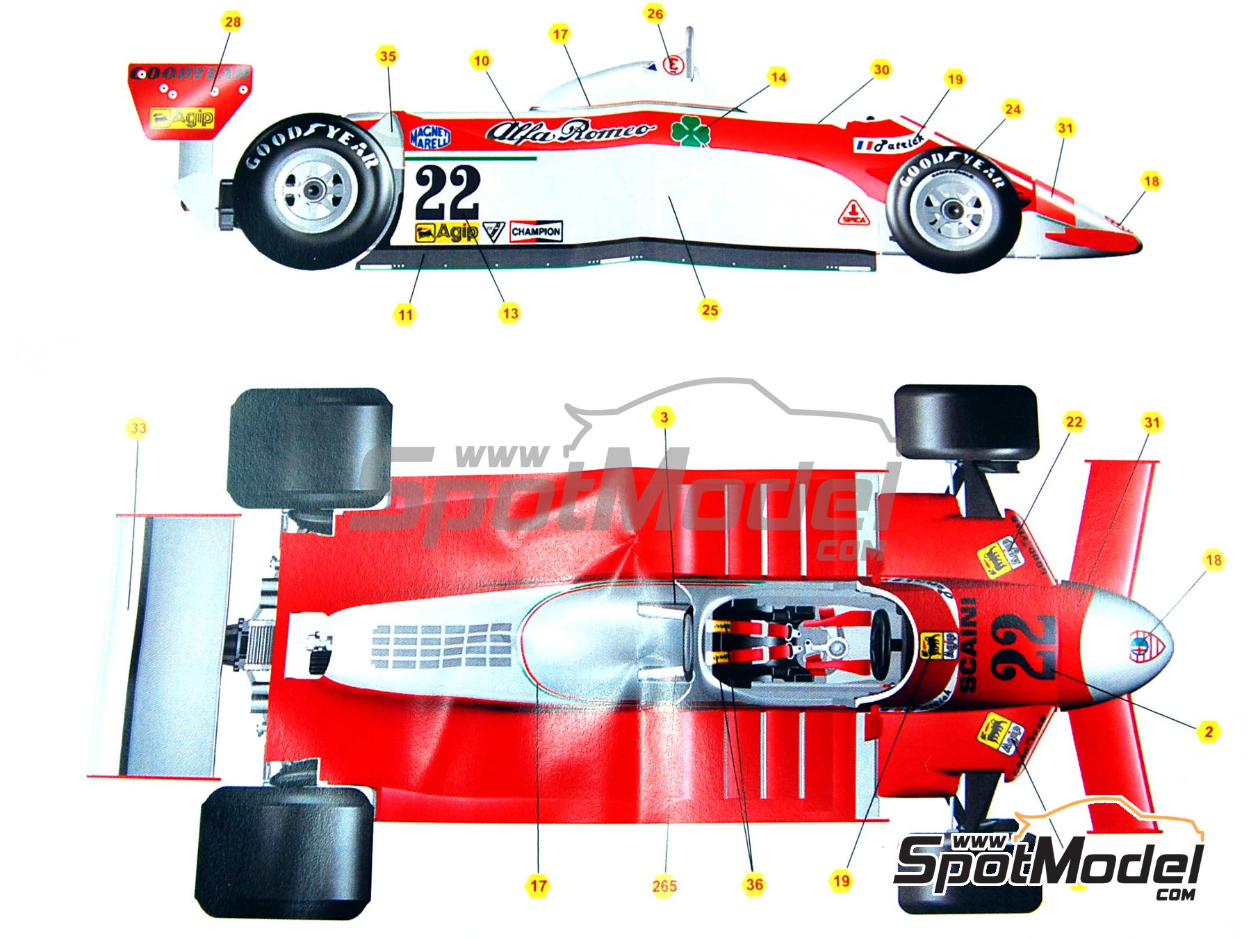 Image 2: Alfa Romeo 179 Marlboro - Monaco Formula 1 Grand Prix 1980 | Model car kit in 1/43 scale manufactured by Tameo Kits (ref. SLK079)
