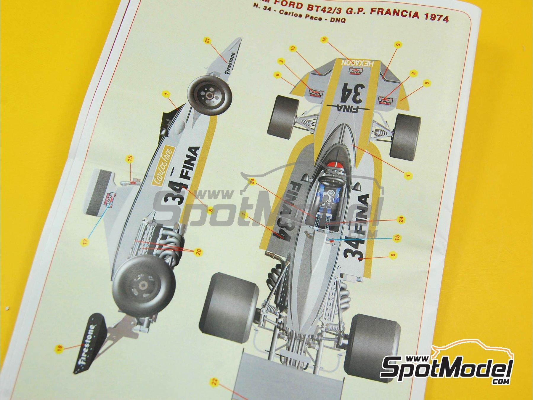 Image 9: Brabham Ford BT42/3 - Gran Premio de Fórmula 1 de Francia 1974 | Maqueta de coche en escala1/43 fabricado por Tameo Kits (ref.SLK091)