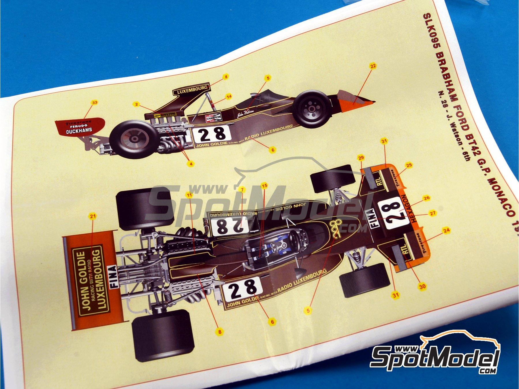 Image 2: Brabham Ford BT42 John Goldie - Monaco Formula 1 Grand Prix 1974 | Model car kit in 1/43 scale manufactured by Tameo Kits (ref.SLK095)
