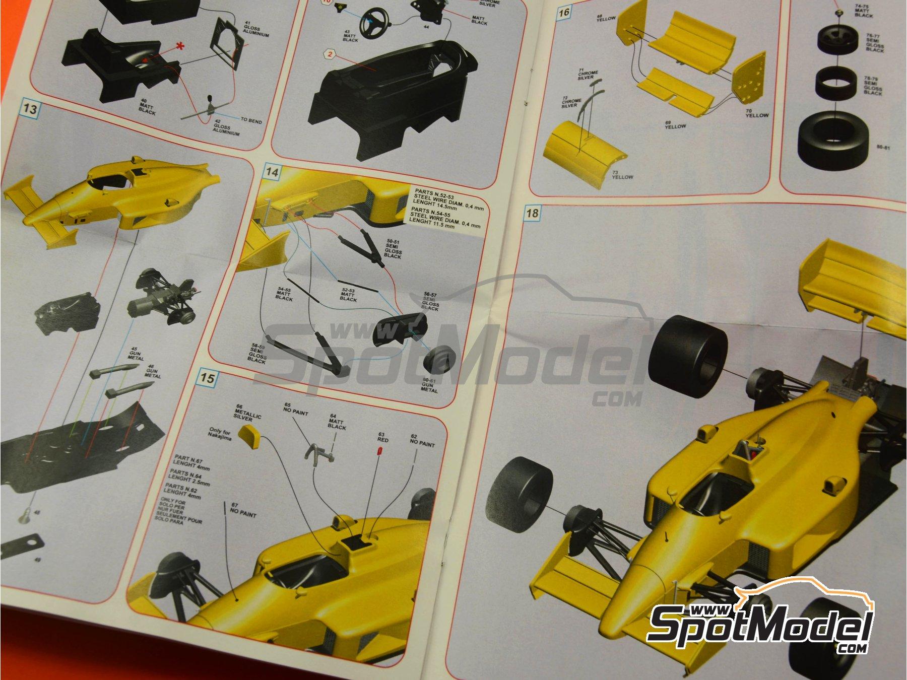 Image 12: Lotus Honda 99T Camel - USA Formula 1 Grand Prix 1987 | Model car kit in 1/43 scale manufactured by Tameo Kits (ref.SLK097)