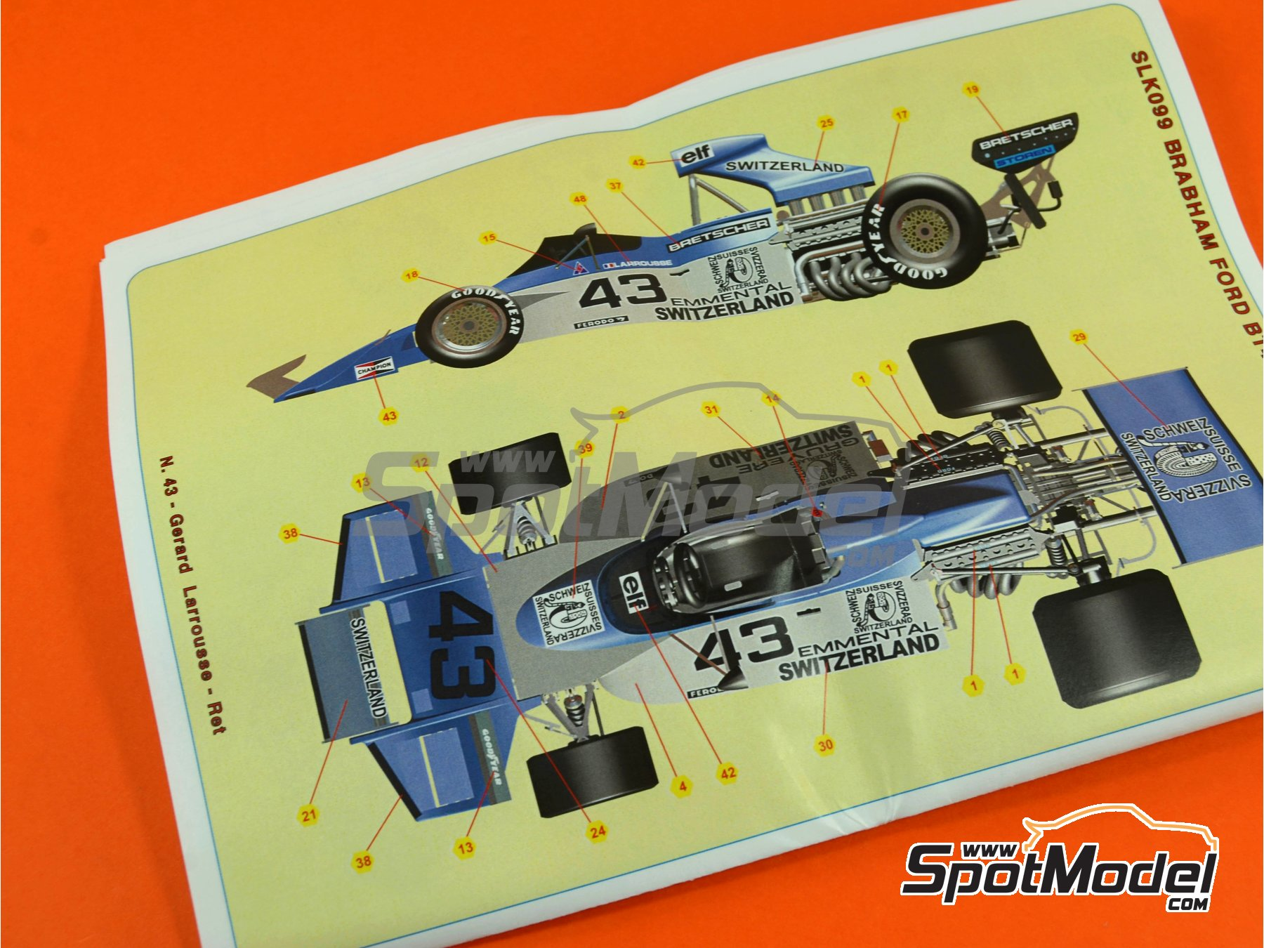 Image 10: Brabham Ford BT42 Casino Baden - Austrian Grand Prix, Belgian Grand Prix, Italian Formula 1 Grand Prix 1974 | Model car kit in 1/43 scale manufactured by Tameo Kits (ref. SLK099)