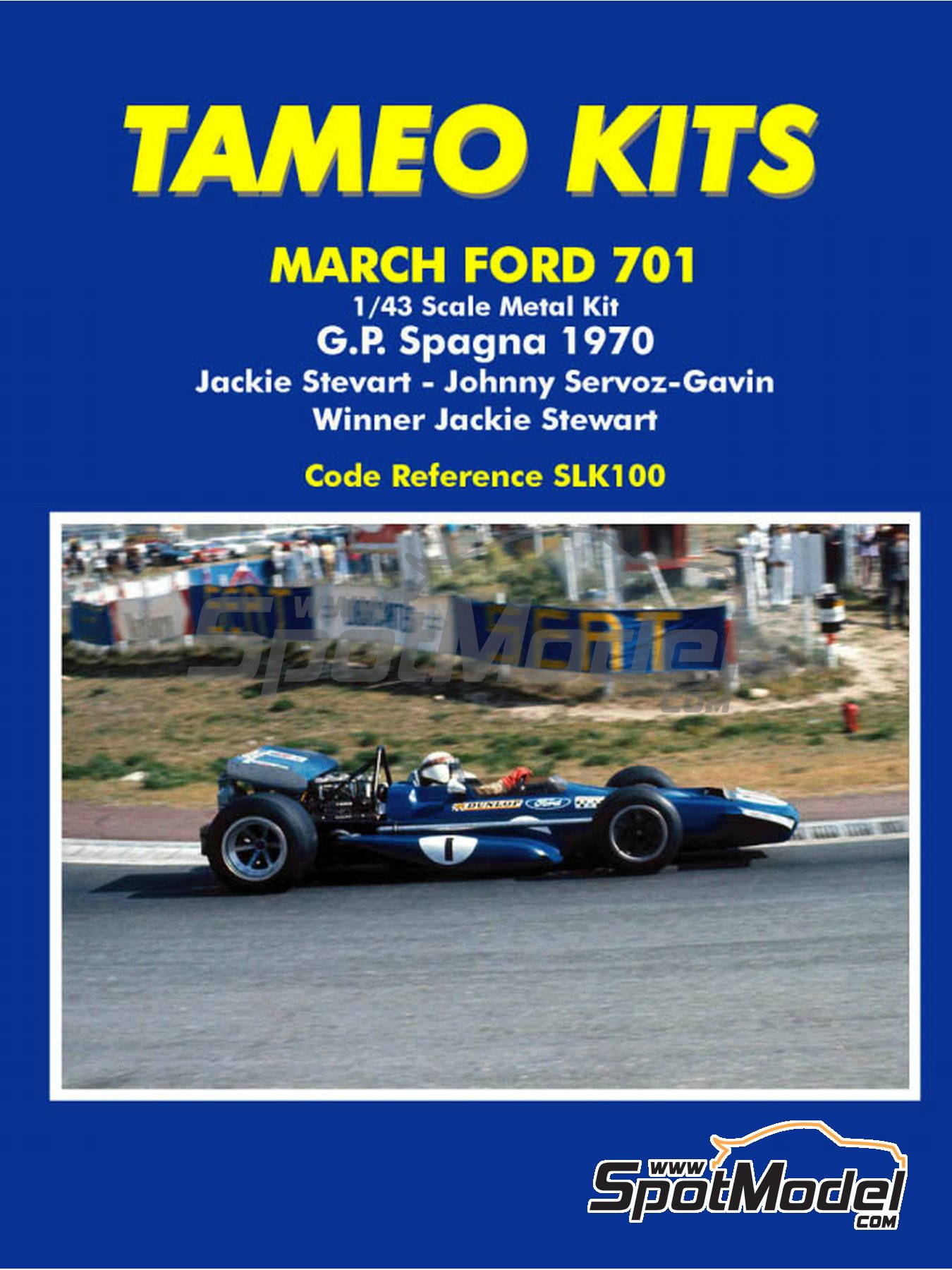 March Ford 701 Dunlop - Spanish Formula 1 Grand Prix 1970 | Model car kit in 1/43 scale manufactured by Tameo Kits (ref.SLK100) image