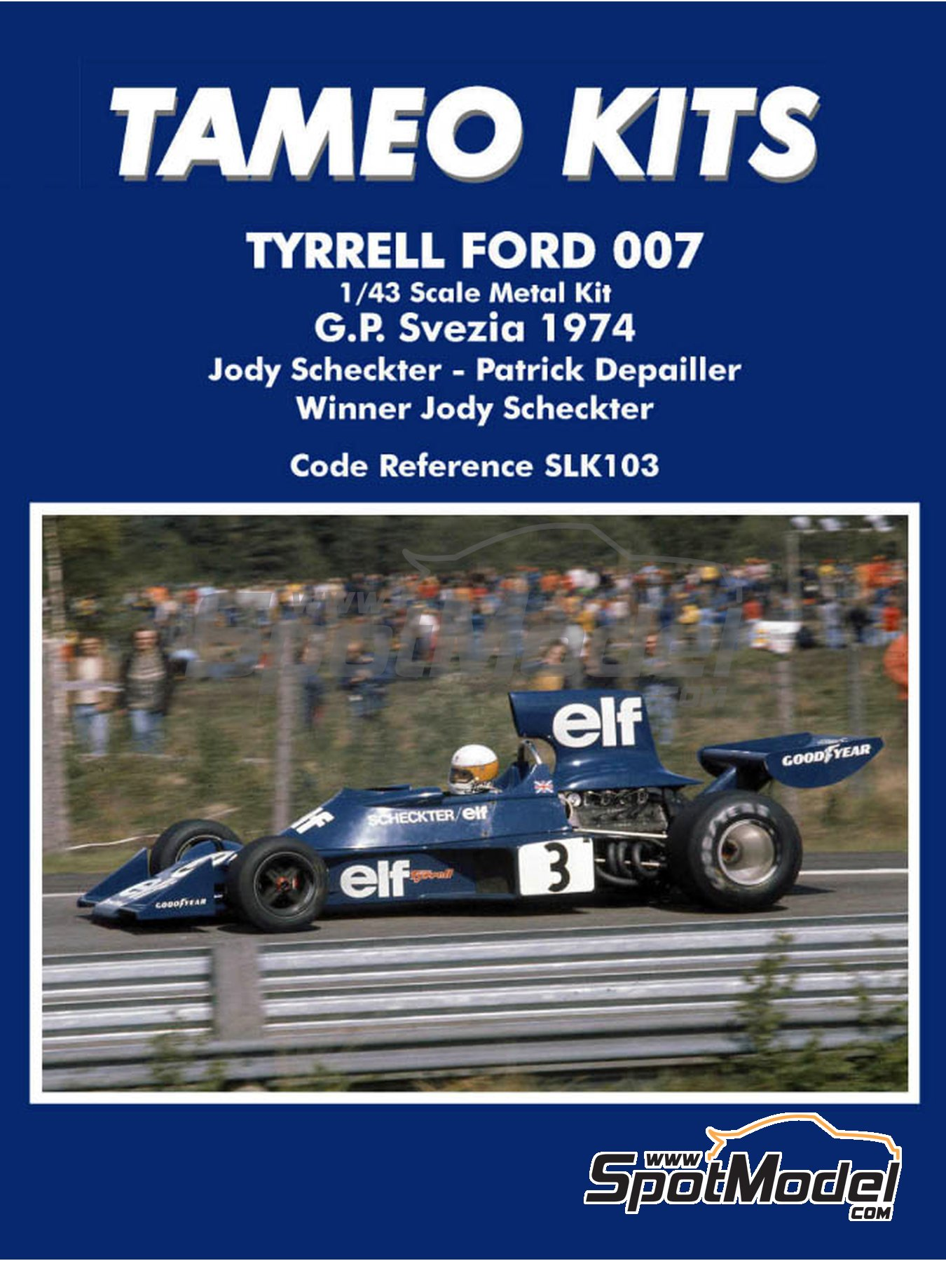 Tyrrell Ford 007 - Swedish Grand Prix 1974 | Model car kit in 1/43 scale manufactured by Tameo Kits (ref. SLK103) image